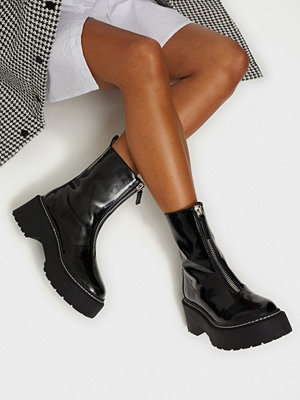 Missguided Zip Up Detail Chunky Ankle Boots