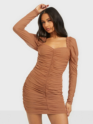 Missguided Mesh Ruched Long Sleeeve Mini Dress