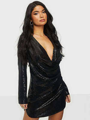 NLY One Sequin Drape Plunge Dress
