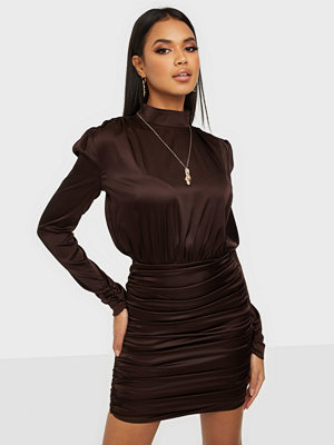 Rare London Satin High Neck Ruch Dress
