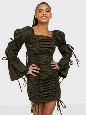 Rare London Drawstring Ruch Statement Sleeve Dress