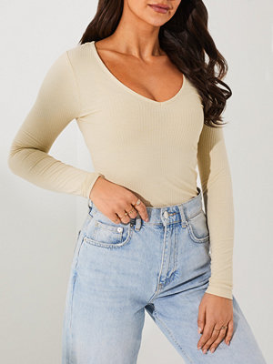 NLY Trend V Neck Rib Top