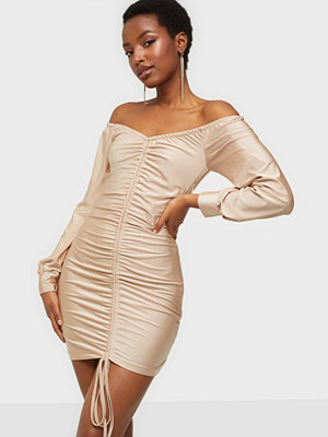 Parisian Rouch Front Long Sleeve Mini Dress