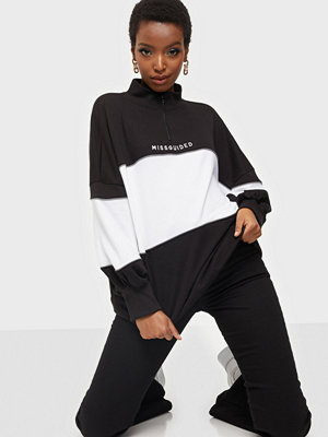 Missguided Colour Block Oversized Zip Sweat