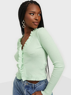 NLY Trend Frill Edge Rib Top