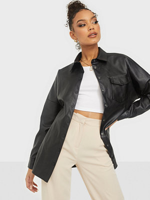 Missguided Faux Leather Long Sleeve Shirt