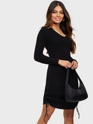 Parisian Rib Knit Rouched Midi Dress