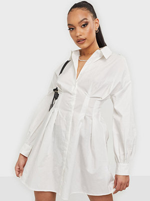 Missguided Poplin Pleated Waist Shirt Dress