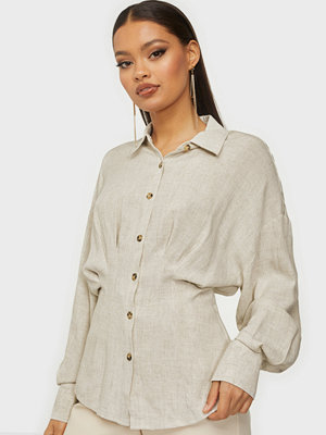 Skjortor - NLY Trend Loose Pleated Linen Shirt