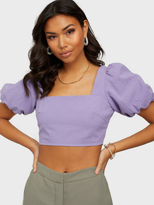 Missguided Puff Sleeve Tie Back Crop Top