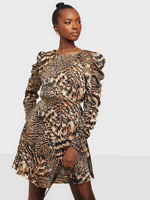 Ax Paris Puff Sleeve Print Mini Dress