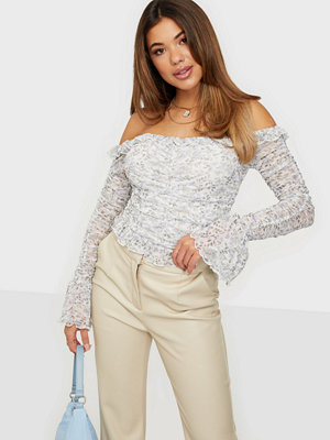 NLY Trend Frill Print Mesh Top