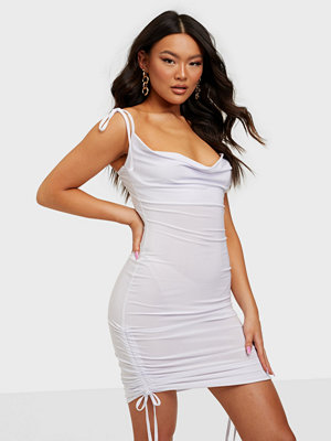 Missguided Slinky Cowl Ruched Tie Mini Dress