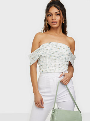 Missguided Floral Mesh Ruched Crop Top