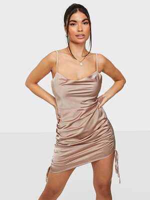 Missguided Satin Cowl Neck Ruched Mini Dress