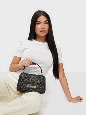 Love Moschino svart mönstrad väska New Shiny Quilted