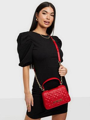 Love Moschino röd mönstrad väska New Shiny Quilted
