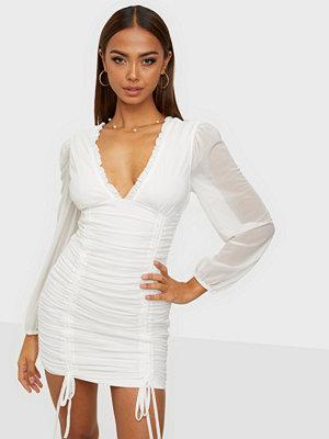 Parisian Mesh V Neck Rouched Mini Dress