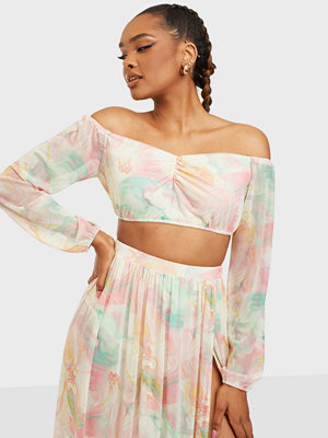 NLY One Mesh Print Ruched Top