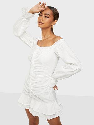 Parisian Rouched Ruffle Bardot Dress