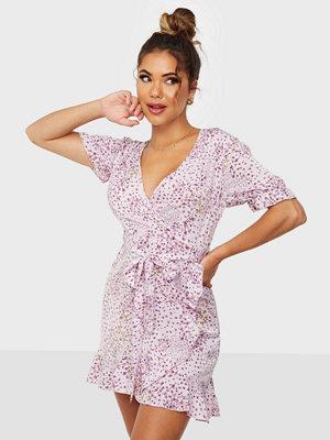 Missguided Puff Ruffle Hem Tea Dress