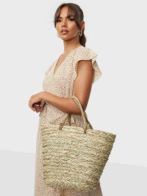 Bow19 omönstrad väska Straw Bag Classic