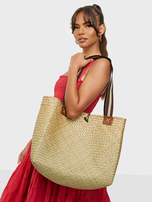 Bow19 omönstrad väska Straw Basket With Straps
