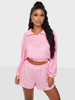 Missguided Towelling Half Zip & Shorts Set
