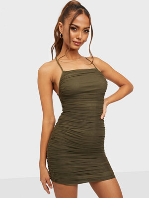 Missguided Mesh Ruched Dress Open Back Dress