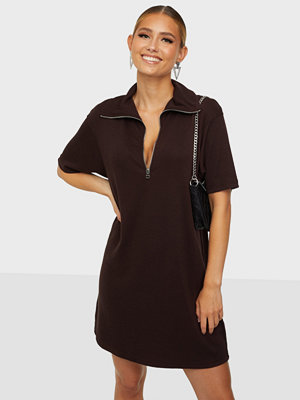 Missguided Zip Neck Dress Rib