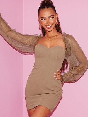Parisian Sheer Sleeve Bodycon Mini Dress