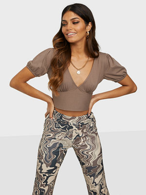 Missguided Puff Sleeve Open Tie Back Crop Top