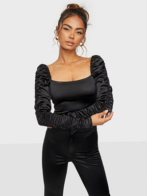 NLY One Ruched Arm Satin Top