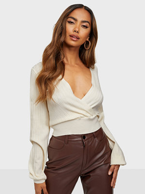 Missguided Plunge Ribbed Long Sleeve Top