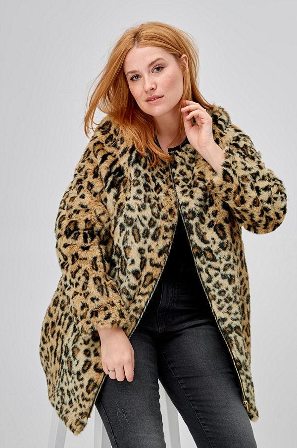 Ellos Fuskpäls Signe, leopardmönstrad