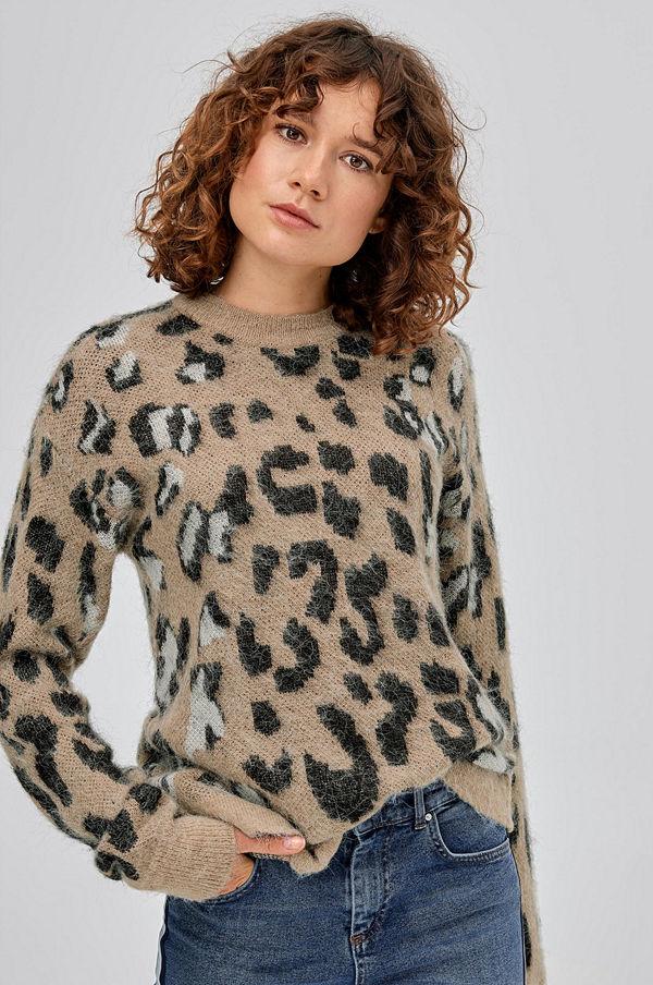 Ellos Tröja Alba, leopardmönstrad