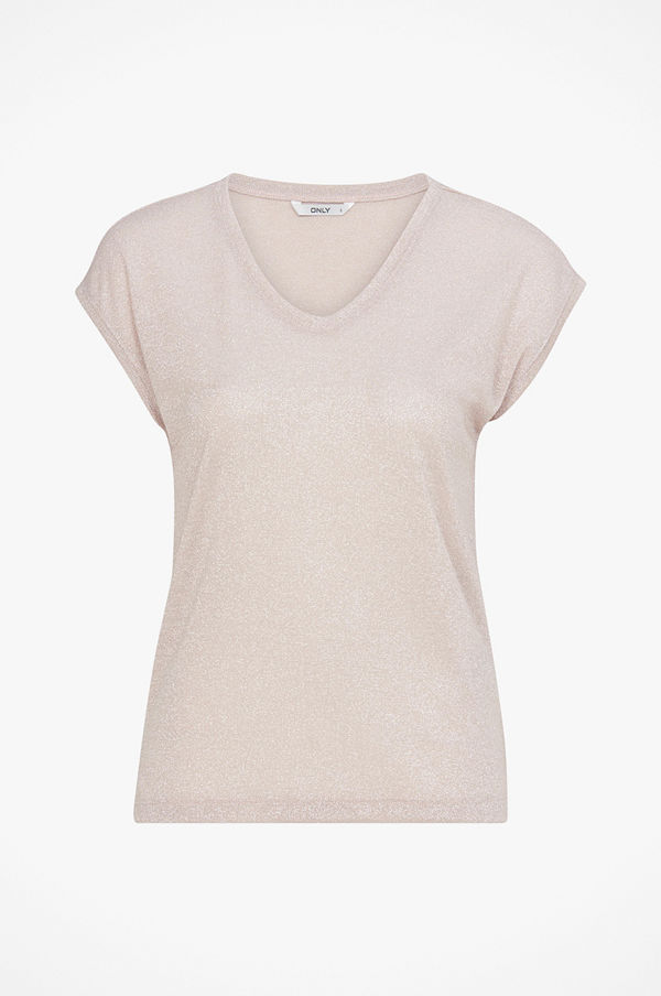 Only Topp onlSilvery S/S V Neck Lurex Top
