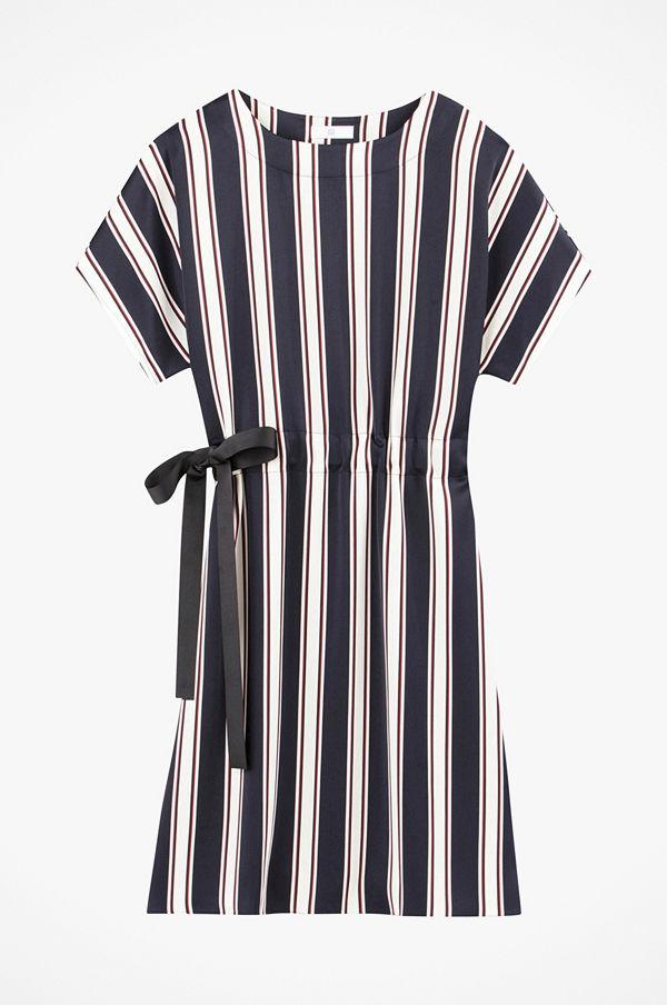 La Redoute Randig, vid klänning med kort ärm, i rak, halvlång modell