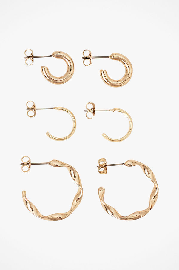 Pieces smycke Örhängen pcOtillie Hoop Earrings 3-pack