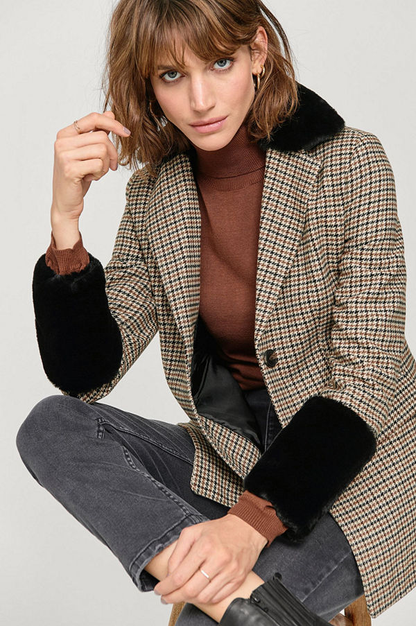 Ellos Jacka Melina Check Fur