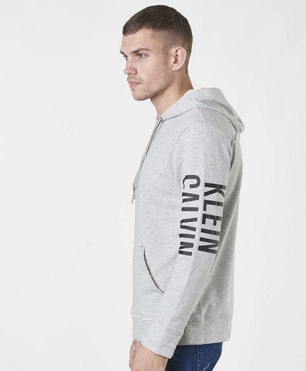 Calvin Klein Underwear Logo Lounge Raw Cut Hoodie Grey Heather