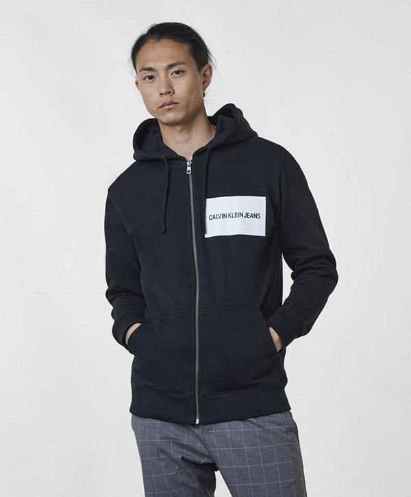 Calvin Klein Jeans Institutional Logo Zip Hoodie 099 Black