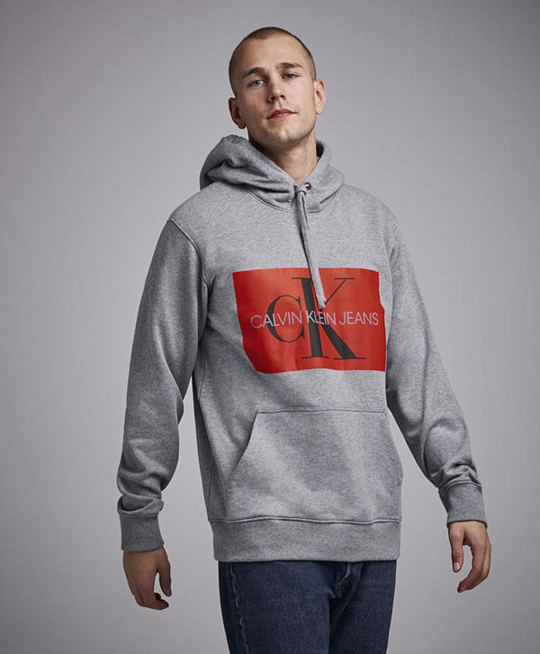 Calvin Klein Jeans Monogram Box Logo Hoodie 039 Grey