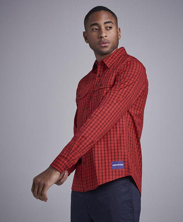 9daab6bed8 Calvin Klein Jeans Poplin Checkshirt 645 Racing Red - Skjortor ...
