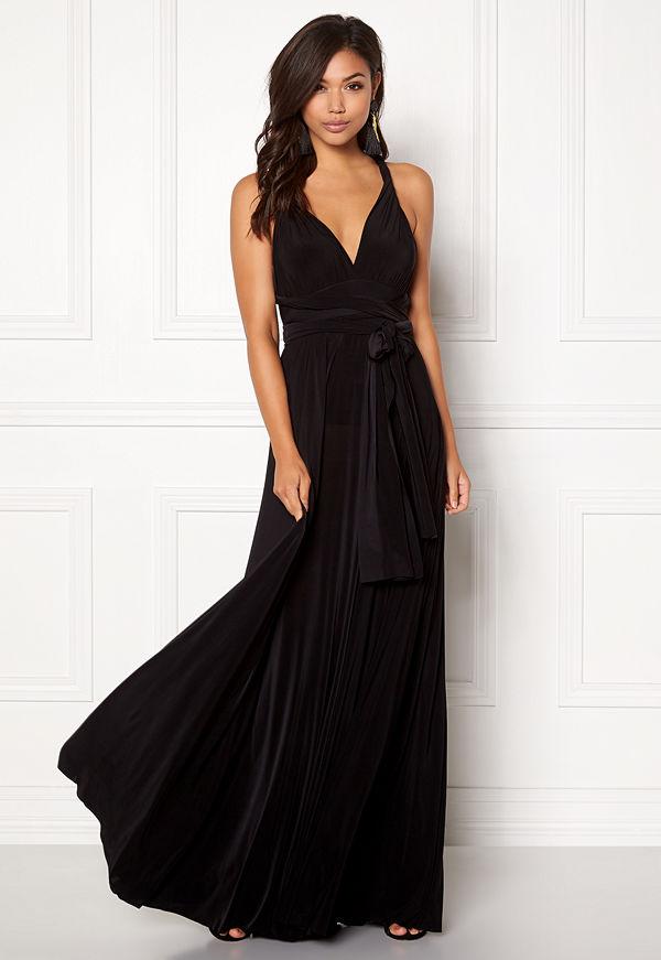 Goddiva Multi Tie Maxi Dress Black