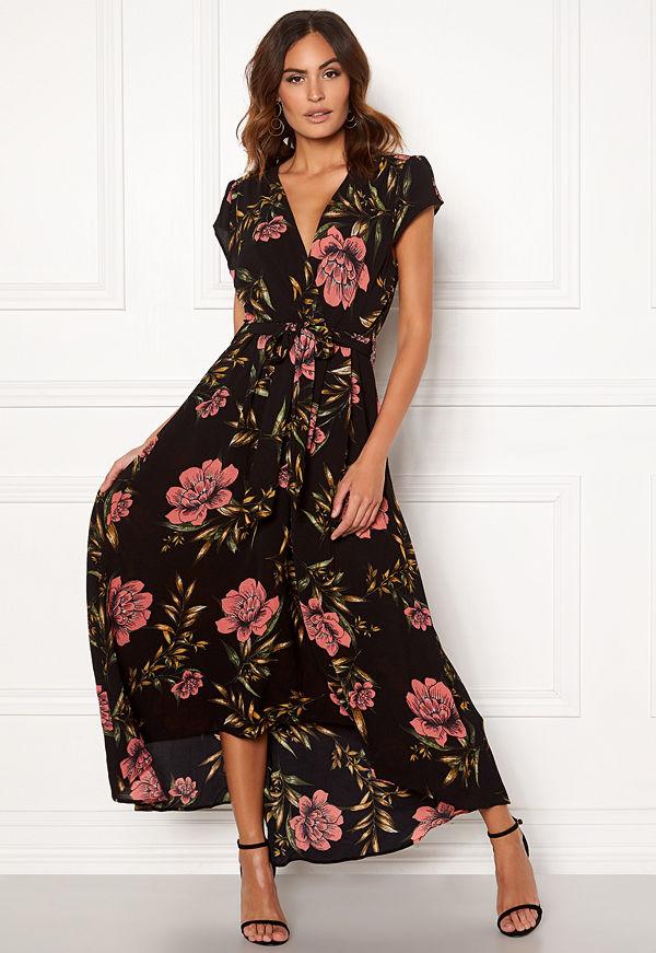 Ax Paris Floral Waterfall Dress Black
