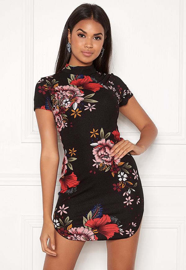 Ax Paris Floral High Neck Dress