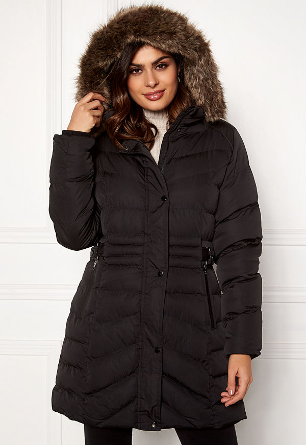 Qed London Quilted Long Puffer Coat