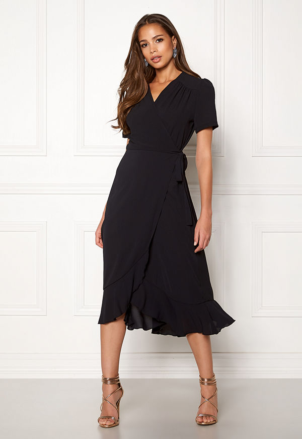 John Zack Short Sleeve Wrap Dress Black