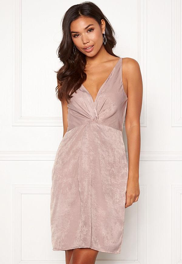 Bubbleroom Marianna front twist dress Silver coloured